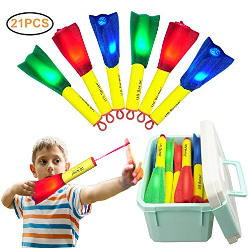 US Sense 21 Pack LED Foam Finger Rockets Slingshot Toys for Boys Girls Party Favors Gift with Storage Box,Fun Outdoor Group Camping Beach Garden Pool - Do Take Camping You What