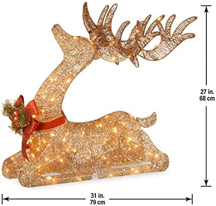 National Tree Company Pre Lit Artificial Christmas Décor Includes Pre Strung White Led Lights And Ground Stakes Sisal Splendor Champagne Lying Deer 4 Ft Home Kitchen Amazon Com
