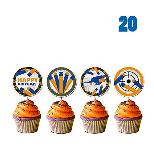 20 Count for Nerf Cupcake Toppers, Gun Picks Target Birthday Bullet War Cupcake Topper