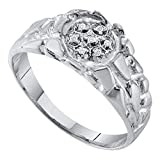 Sterling Silver Mens Round Natural Diamond Cluster Nugget Fashion Ring (.50 cttw.) (I2-I3)