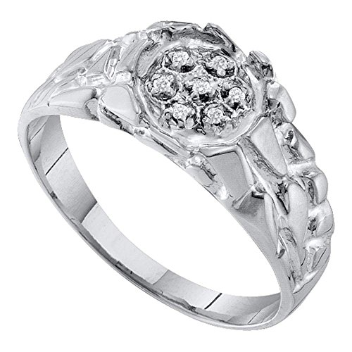 Sterling Silver Mens Round Natural Diamond Cluster Nugget Fashion Ring (.50 cttw.) (I2-I3) by Mia Diamonds and Co.