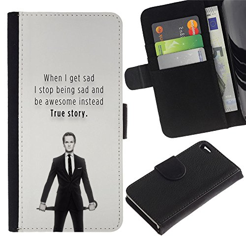 iKiki Tech / Etui Coque Housse de Protection en Cuir - Sad Awesome Quote True Story Funny - Apple iPhone 4 / 4S