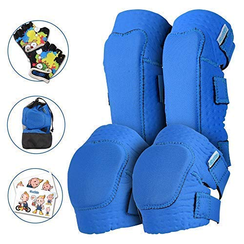 Innovative Soft Kids Knee and Elbow Pads with Bike Gloves | Toddler Protective Gear Set w/Mesh Bag& Sticker | CSPC Certified& Comfort | Roller-Skating, Skateboard Knee Pads for Children Boys Girls