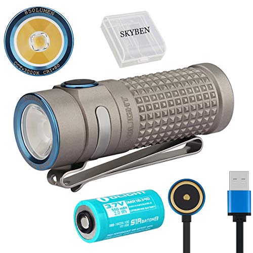 Olight S1R II 850 Lumens Titanium XM-L2 Warm White 3000 K Rechargeable EDC Flashlight Limited Edition IMR16340 Side switch Flashlight with Battery and SKYBEN Battery Case (Winter)