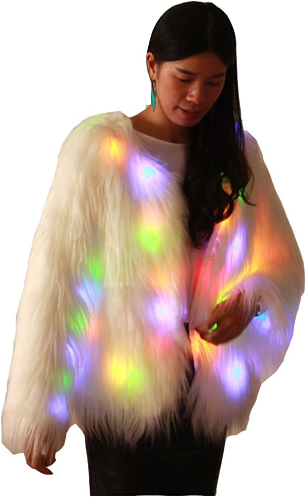 Ohlees® Led Light Up Navidad Parte Faux Fur Chaleco Abrigo Vest Coat Realizar Dance