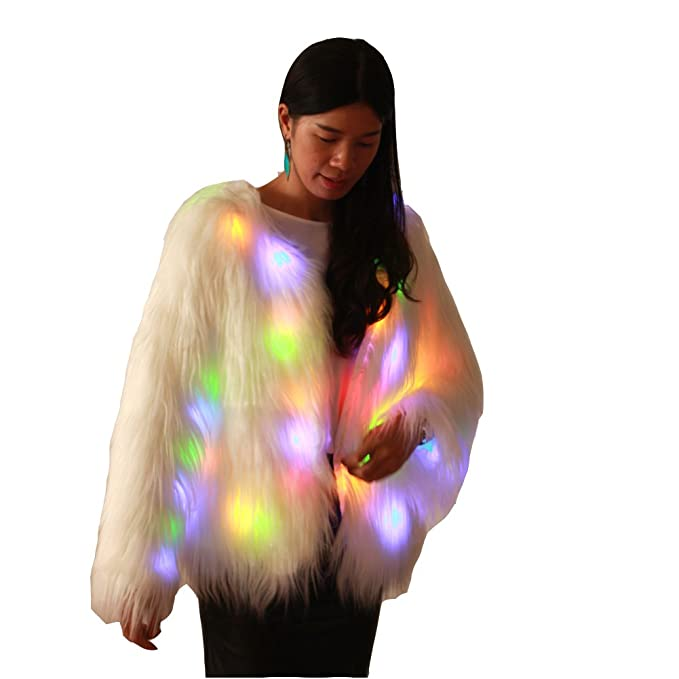 Ohlees® Led Light Up Navidad Parte Faux Fur Chaleco Abrigo Vest Coat Realizar Dance: Amazon.es: Ropa y accesorios