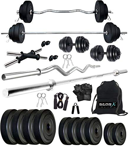 StarX Star X 50 Kg PVC Weight with Accessories and Rods Home Gym Combo Exercise   Fitness Sets