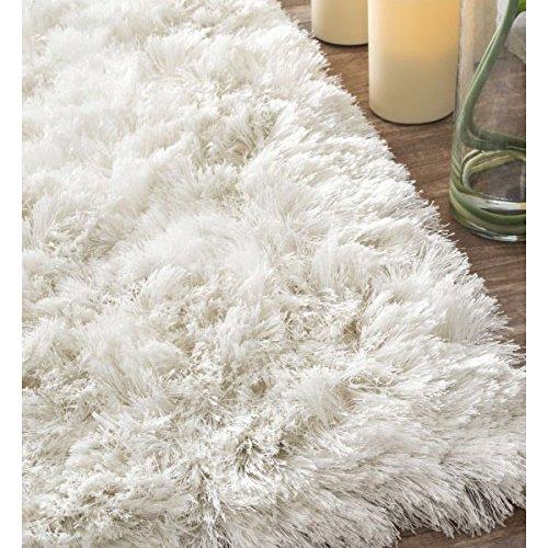 amazoncom nuloom 5u0027 x 8u0027 hand woven latonia silken shaggy rug in white garden u0026 outdoor