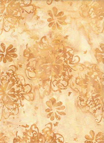 Anthology Fabrics Antique Gold Scroll Ironwork Medallions Stamped on Tan Golden Batik ~ Wide Back ~HALF YARD!!~ Hand Dyed Batik Wide Back WB9527 ~ Quilt Fabric 100% Cotton 110