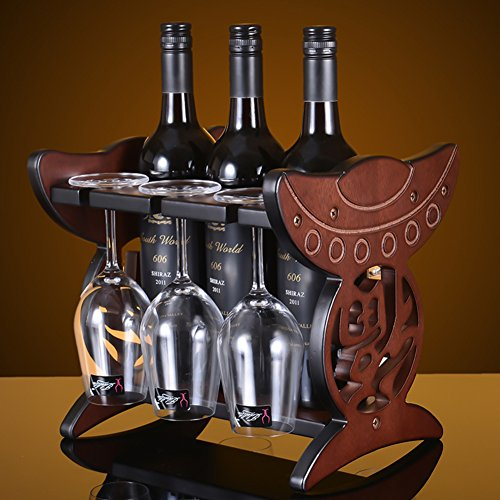 Wooden wine glass holder,Wine cup rack stemware glass storage organizer freestanding wine cup display stand-A L11.5W10H10inch(292526cm) by bestwineholder