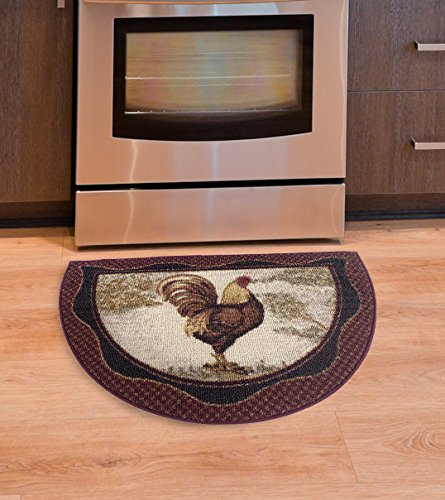 Brumlow Mills Tall Rooster Kitchen Rug, 19-Inch by 31-Inch, Brick