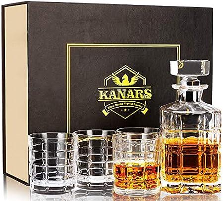 KANARS Jarra de Whisky, 5 Piezas, 100% Libre de Plomo Cristalino Resistente Botella de Whisky Set para Scotch, Bourbon, 800ml Decantador y 4 Vasos de Whisky 300ml, Hermosa Caja de Regalo