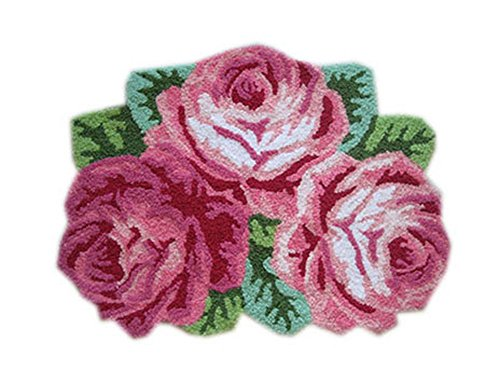 PANDA SUPERSTORE Pretty Bath Rug Three Pink Roses Rug for Hallway, Living Room 31.523.5 Inches