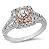 095-Carat-Ctw-Two-Tone-Rose-Gold-Plated-14K-White-Gold-White-Diamond-Bridal-Halo-Engagement-Ring-1-CT