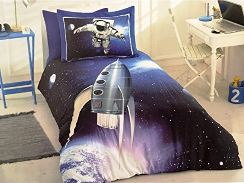 Explorer 100% Cotton (ALWAYS_CHEAPEST Space Astronaut Themed Children's Duvet Cover Quilt Cover Bedding Set, Spacecraft Explorer Single/Twin Bedding for Boys, 100% Cotton, Blue (3 PCS))