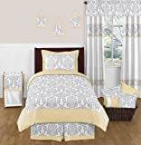 Yellow, Gray and White Avery Damask Print Girl or Boy Bedding Children and Teen 4pc Twin Set