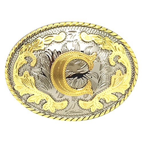Western Belt Buckle Initial Letters ABCDEFG to Y-Cowboy Rodeo Gold Large Belt Buckle for Men and Women (C) -