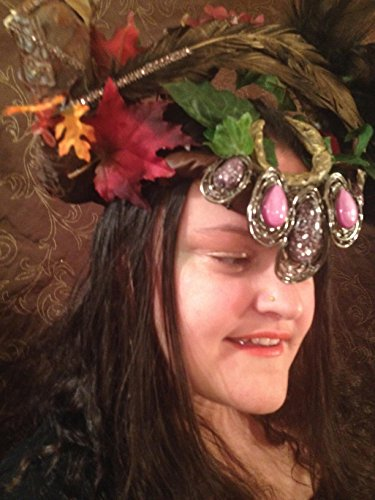fairy king headpiece shaman headdress oberon male elf crown beltane solstice green man mens' headwear cosplay forest witch sorcerer festival by crooked crow masks