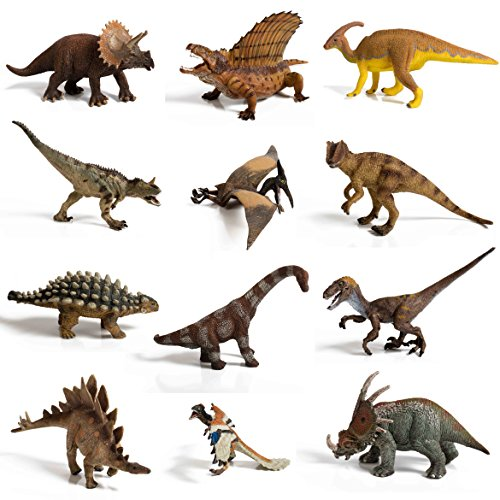 IQ Toys 12 piece Large Assorted Dinosaurs highly detailed realistic looking to last -