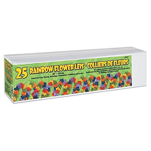 40'' Fabric Rainbow Flower Leis, (Rainbow Leis)
