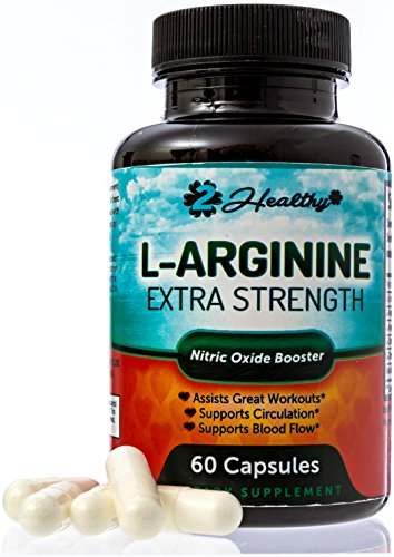 Extra Strength L-Arginine - Nitric Oxide Booster Supplement, 1300mg L-Citrulline Malate Pills, AAKG, Beta Alanine, Great Pre Workout to NO Boost Muscle Growth, Vascularity & Energy in Men, 60 Capsules