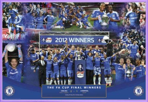 1art1 Football Poster and Frame (Plastic) - Chelsea FC, FA Cup Winners 2012 (36 x 24 inches)