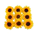 """Colorfulife Artificial Silk 3.5"""" Sunflower Flower Head for Wedding Home Party Decoration Hair Clip Wreath Decorative (24)"""