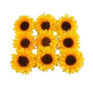 "Colorfulife Artificial Silk 3.5"" Sunflower Flower Head for Wedding Home Party Decoration Hair Clip Wreath Decorative 8"