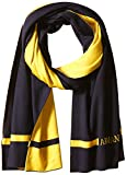 Armani Exchange Men's Cashfeel Pure Merino Wool Knit Scarf, Navy Yellow, One Size