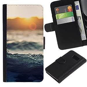 LASTONE PHONE CASE / Lujo Billetera de Cuero Caso del tirón Titular de la tarjeta Flip Carcasa Funda para Samsung Galaxy S6 SM-G920 / Waves Sunset Sea Ocean Horizon Magical