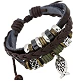TEMEGO Jewelry Mens Womens Alloy Genuine Leather Braided Surfer Wrap ...