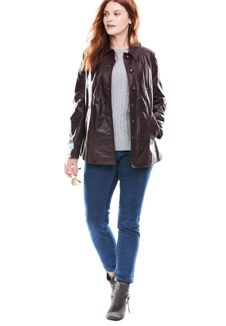 Woman Within Women's Plus Size Button-Front Leather Jacket Midnight Berry,32 W