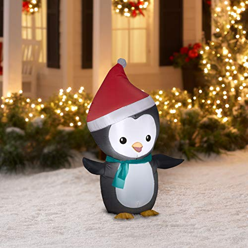 Airblown Inflatable 4 Christmas Penguin with Santa Hat and Scarf