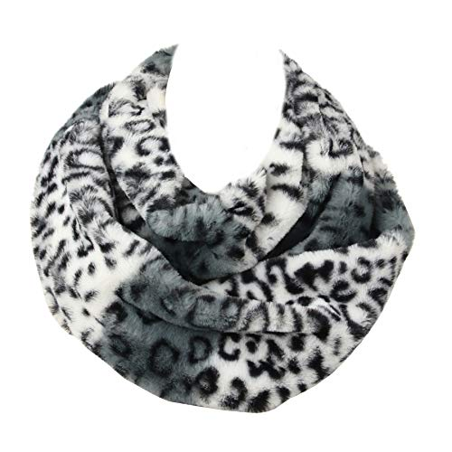La Carrie Womens Faux Fur Leopard Print Infinity Scarf Loop Circle Neck Warmer(White Leopard)