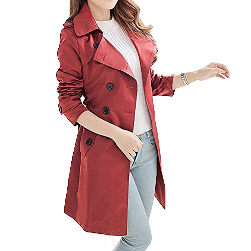Blostirno Notched Lapel Double-Breasted Trench Coat Outwear With Belt (Maroon 14)