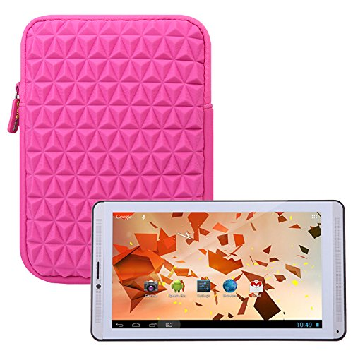 Evecase IRULU X1c / P2 Series 7'' Phablet Tablet Sleeve Case, Super Soft Vertical Cushion & Shock Resistant Portable Travel Carrying Case Cover Slim Pouch Bag - Hot Pink