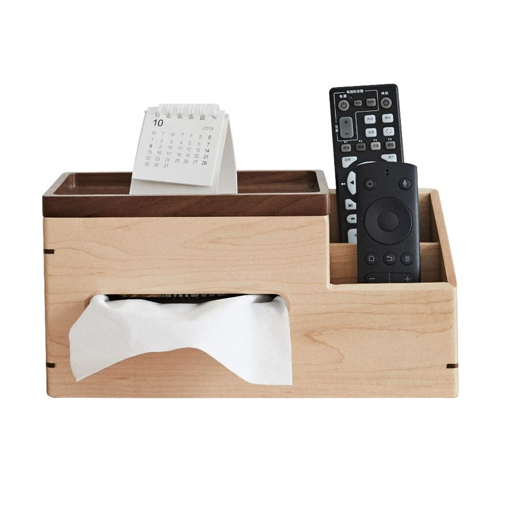 Xyanzi 木製リモート収納ボックス、デスクオーガナイザーペン鉛筆文房具ホルダー付きティッシュホルダーデスクテーブル用収納箱(2つのコンパートメント) B07TPLCRT6