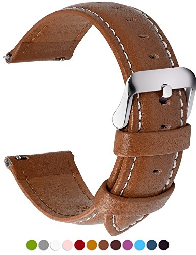 12 Colors for Quick Release Leather Watch Band, Fullmosa Axus Genuine Leather Watch Strap,Brown,20mm