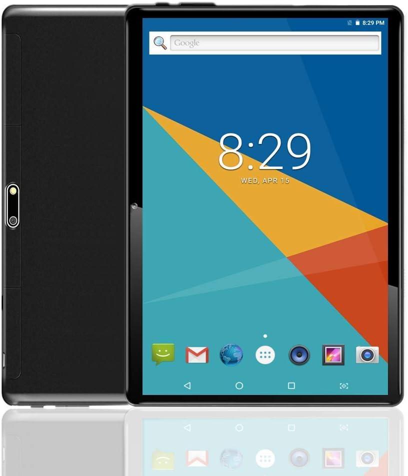 """Tablet Android con doppio slot per schede SIM sbloccato 10.1 """"Schermo in vetro IPS Octa Core 4 GB RAM 64 GB ROM 3G Phablet con WiFi GPS Bluetooth Netflix Google Play (Black)"""