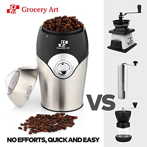 [Upgraded] Electric Coffee Grinder Blade Mill - Small & Compact Simple Touch Automatic Grinding Tool Appliance for Whole Coffee Beans, Spices, Herbs, Pepper, Salt & Nuts - Great Coffee Gift Idea! by Grocery Art (Image #3)