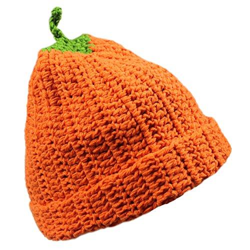 Knit Pumpkin (Unisex Winter Costume Knitted Crochet Pumpkin Skiing Snowboarding Beanie Hat Cap)
