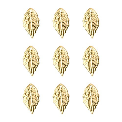 (Gold Alloy Leaves Charms Pendant for Jewelry Making DIY Craft Necklace Accessory 100PCS)