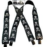 Holdup Suspender Brand 2'' Skull & Crossbones pattern X-back suspenders with Jumbo No-slip Clips