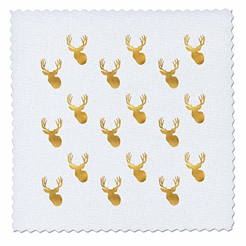 3dRose PS Animals - Image of Gold Glitz Deer - 10x10 inch quilt square (qs_274218_1)