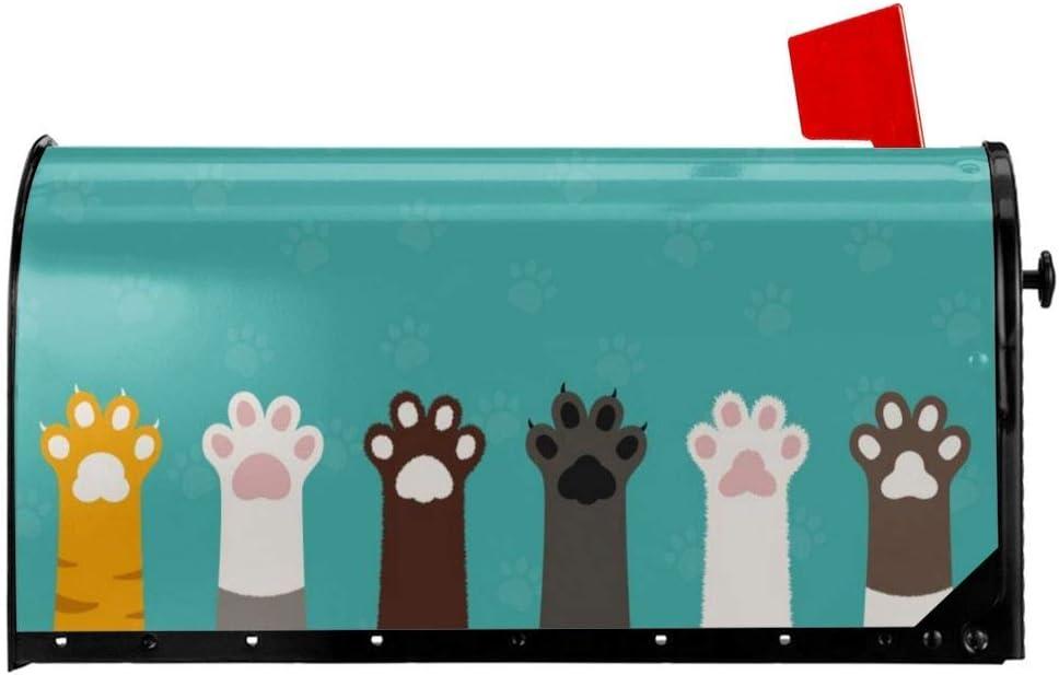 Dibujos Animados Lindo Gato Pie Perro Pata Cubiertas Magn/éticas para Buzones Bienvenido Buz/ón Wraps Post Letter Box Cover Garden Home Decor 21x18 Pulgadas