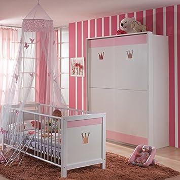 2 Tlg Babyzimmer Weiss Rosa Babybett Kleiderschrank Mit