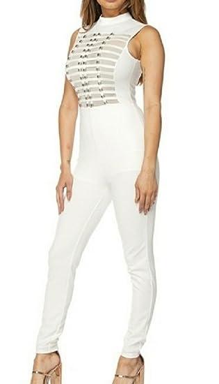 5b8d794d1dfe9 Amazon.com: L'Diva Couture Boutique Women's White Jumpsuit: Clothing