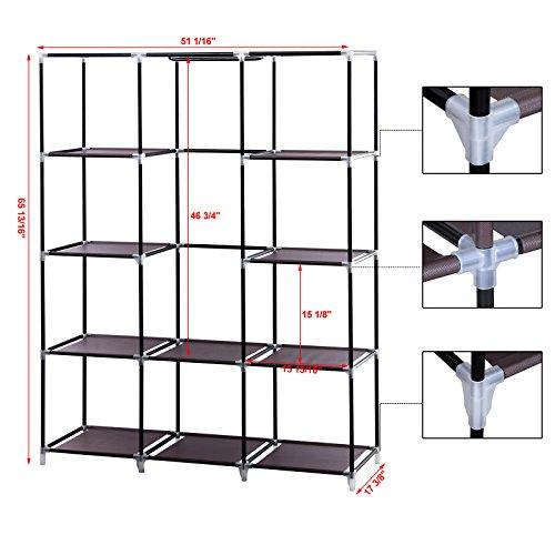 SONGMICS-51-Portable-Clothes-Closet-Wardrobe-Non-woven-Fabric-Storage-Organizer-10-Shelves-Garment-Rack-URYG93