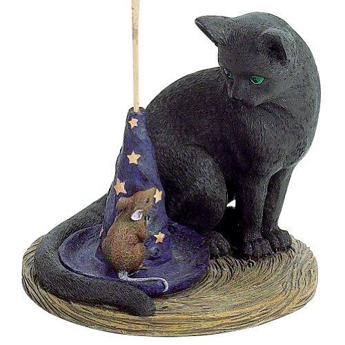 Magical Cat Incense Burner - Cat & Mouse W/ Wizard Hat Incense Holder