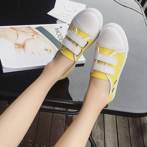 Lienzo NGRDX Zapatos Casual Yellow Superficial Zapatos amp;G Ayuda Bajo Metálica El Plana Redonda Lienzo rIxBI16qP